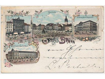 04 - Brno, 4 - záběrová litografie, náměstí, školy..., cca 1897