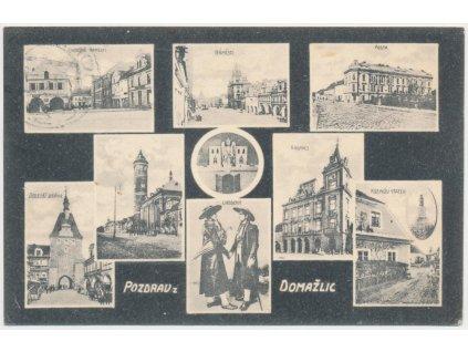 15 - Domažlice, 9 - ti záběr dominant města, náměstí, pošta..., 1925