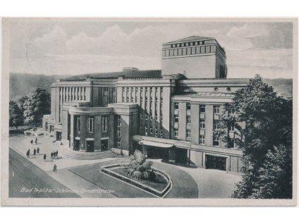 65 - Teplice, oživená partie před divadlem, Stadttheater, cca 1940