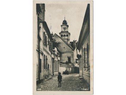 24 - Jindřichohradecko, Třeboň, oživená ulice v centru města, cca 1934
