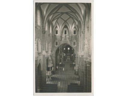 67 - Třebíč, interiér Basiliky sv. Prokopa, cca 1935