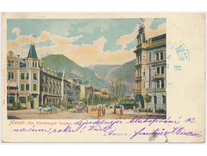 Itálie, Merano, oživená partie z lázeňského města, cca 1900