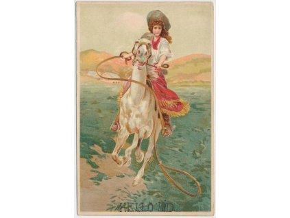 Kovbojský pozdrav, litografie, cca 1913