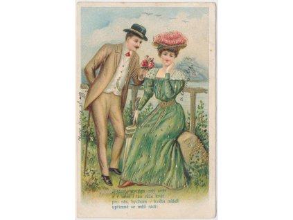 Zamilovaný pár, litografie, cca 1903