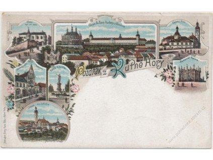 31 - Kutná Hora, 7 - mi záběrová litografie dominant města, cca 1900