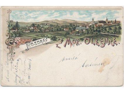 03 - Blansko, Mor. Olešnice, litografie, celkový pohled na město