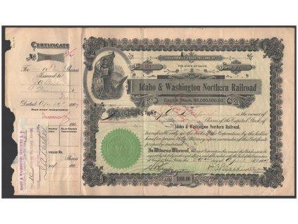 Idaho & Washington Nortern Railroad, akcie $100 - železnice, 1901