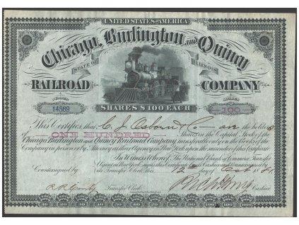 Chicago, Burlington & Quincy Railroad Company, akcie $100 - železnice, 1901