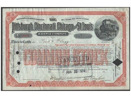 Pittsburgh, Cincinati, Chicago & St. Luis Railroad Company, akcie $30 - železnice, 1900-09