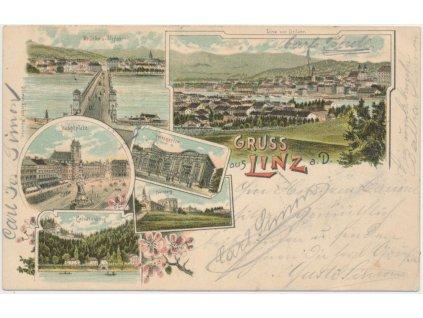 Rakousko, Linz, 6 - ti záběrová koláž dominant města, cca 1897