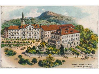 Rakousko, Mühlbach, Steger´s Hotel zur Sonneoživená partie před hotelem, cca 1915