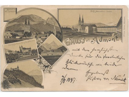 Rakousko, Admont, 5 - ti záběrová koláž, cca 1897