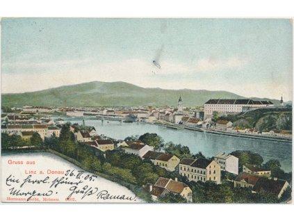 Rakousko, Linz, pohled na město s protékající řekou Dunaj, cca 1905