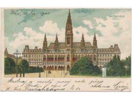 Rakousko, Wien, Rathhaus, budova Vídeňské radnice, cca 1902