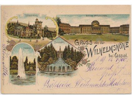 Německo, Cassel, Horský park Wilhelmshöhe, 4 - záběrová koláž,  1900