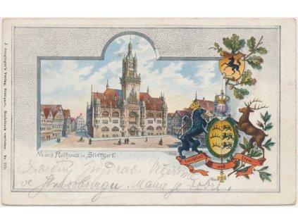 Německo, Stuttgart, kolážová pohlednice s novou radnicí, cca 1898