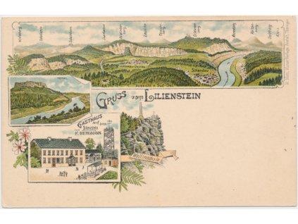 Německo, Lilienstein, 4 - záběrová koláž, Gasthaus F. Bergmann...,  1896