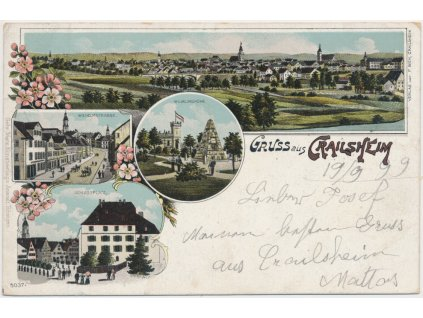 Německo, Crailsheim, 4 - záběrová koláž dominant města, cca 1899