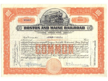 Boston & Maine Railroad Company, akcie $100 - železnice, 1948