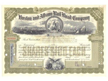 Boston & Albamy Railroad Company, akcie $500 - železnice, 1954