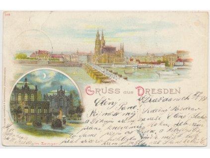 Německo, Dresden, 2 - záběr dominant, Im Zwinger...., cca 1898