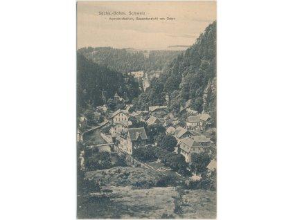14 - Děčínsko, Hřensko, celkový pohled na obec, cca 1906