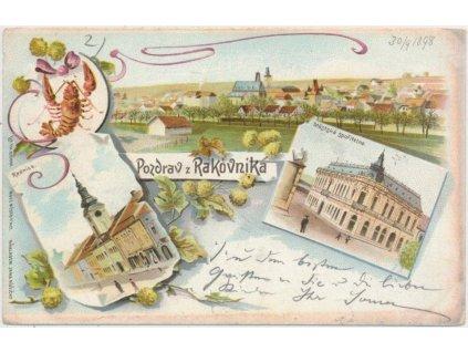 55 - Rakovník, 3 - záběrová litografie dominant města, cca 1898