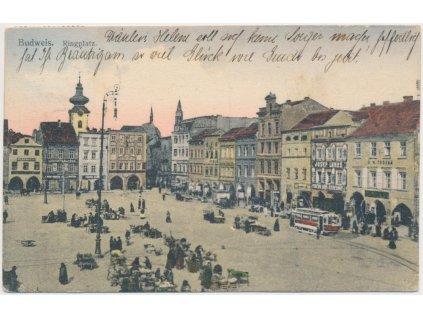 12 - České Budějovice, oživené náměstí, tramvaj, cca 1917