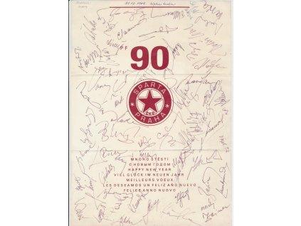 Sparta ČKD Praha, Novoroční přání r. 1990 s podpisy sportovců klubu!!!