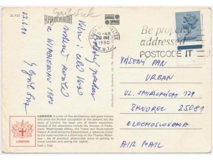 Suk Cyril (1942), tenisový funkcionář, pohlednice z Wimbledonu 1980