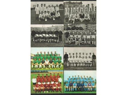 Sestava 8 ks pohlednic fotbalových mužstev, např. TŽ Třinec, ČKD Praha