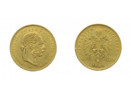 F. Josef I., 4 Zlatník, 1885, Au 0,900, váha 3,226 gramu, stav 1/1