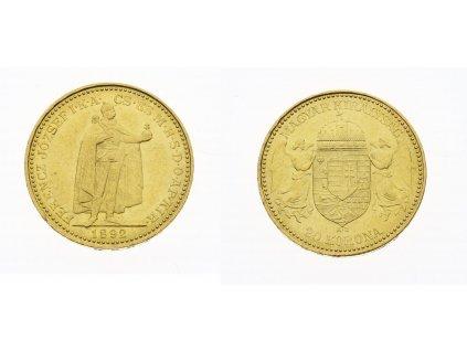 F. Josef I., 20 Korun, 1892 ,K.B., AU, 0,900, váha 6,775 gramu