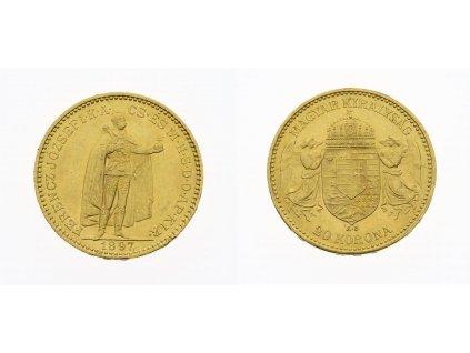 F .Josef I., 20 Korun, 1897 ,K.B., AU, 0,900, váha 6,775 gramu