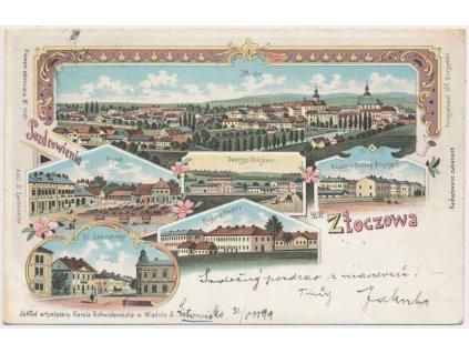 Ukrajina, Zoločiv, 5 - ti záběrová koláž dominant města, cca 1899