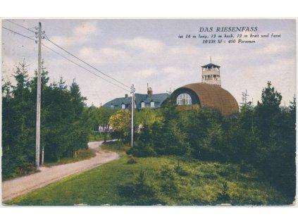 32 - Liberecko, Restaurace Obří Sud - das Riesenfass, cca 1929