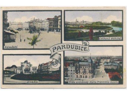 44 - Pardubice, 4 - záběr dominant, náměstí, divadlo..., cca 1919