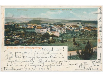 66 - Trutnov, Riesengebirge, celkový pohled na město, cca 1902