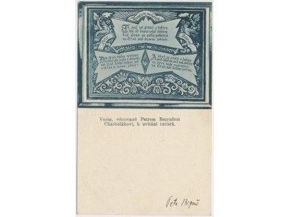 Bezruč Petr (1867-1958), básník, pohlednice s podpisem