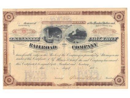Tennesse & Coal, Tron Railroad Company, akcie $100 - železnice, 1886