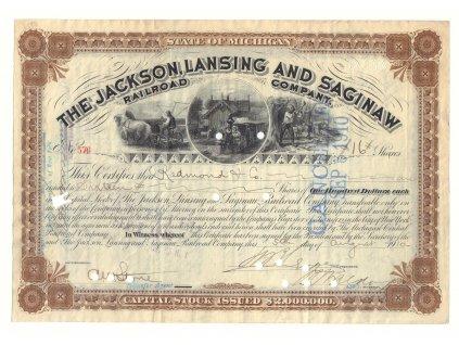 Michigane, The Jackson, Lansig & Saginaw Railroad Company, akcie $100