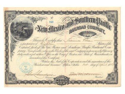 New Mexico & Southern Pacific Railroad Company, akcie $100, 1880