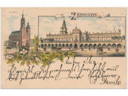 Polsko, Krakow, 2 - záběrová koláž, Sukienice, Kosciol, cca 1896