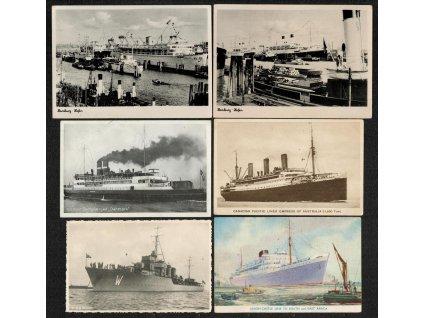 Sestava 6 - ti ks námětových pohlednic - lodě, každá jiná...