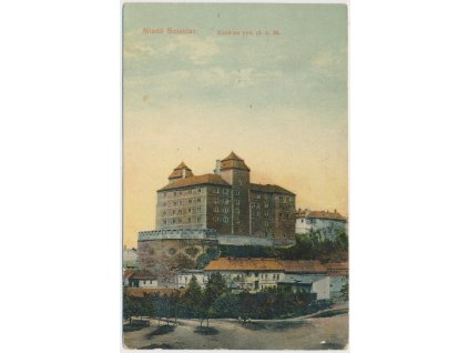36 - Mladá Boleslav, pohled na kasárna, nákl. K. Žižka..., cca 1909