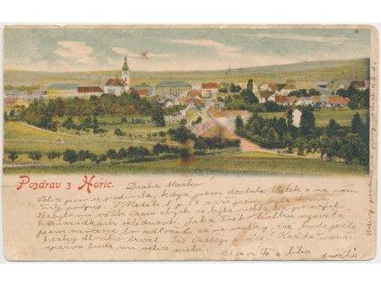 22 - Jičínsko, Hořice, celkový pohled na město, cca 1900