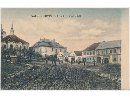 01 - Benešovsko, Divišov, oživené Dolní náměstí, cca 1934