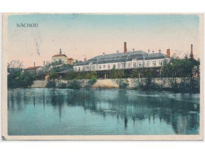 38 - Náchod, partie u Metuje s pohledem na zámek, cca 1918