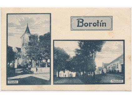 64 - Táborsko, Borotín, 2 - záběr, náměstí a kostel, cca 1928