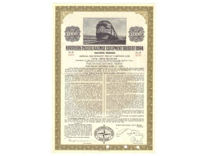 Northern Pacific Railway Equipment trust of 1964, akcie $1000